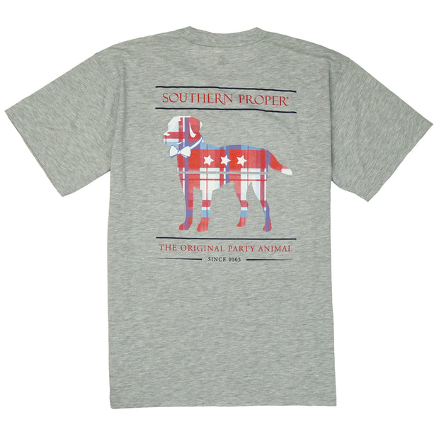 Southern Proper - Madras Party Animal Tee: Heather Grey