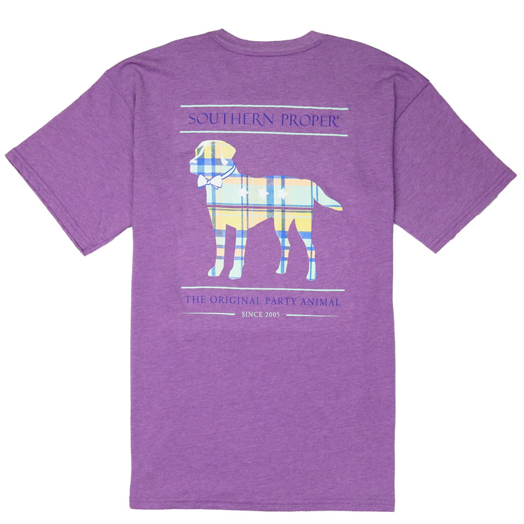 Southern Proper - Boys - Madras Party Animal Tee: Heather Hyacinth