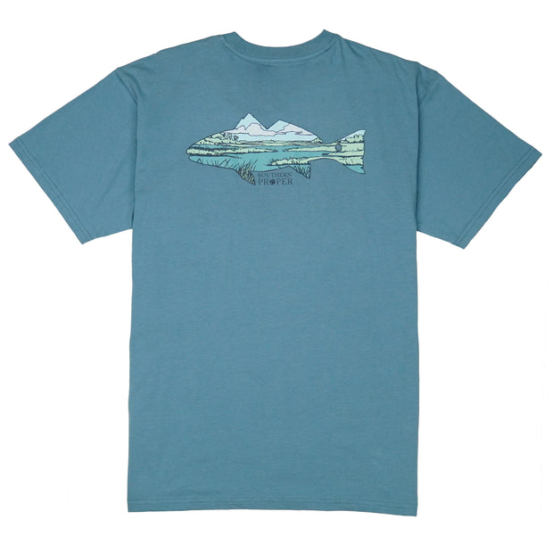 Southern Proper - Marsh Fish Tee: Blue Shadow