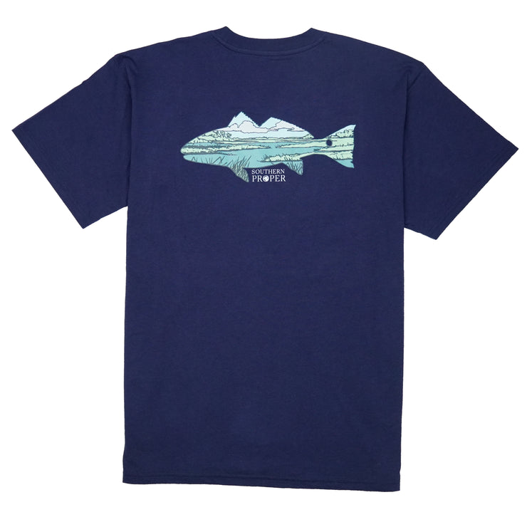 Southern Proper - Marsh Fish Tee: Patriot Blue