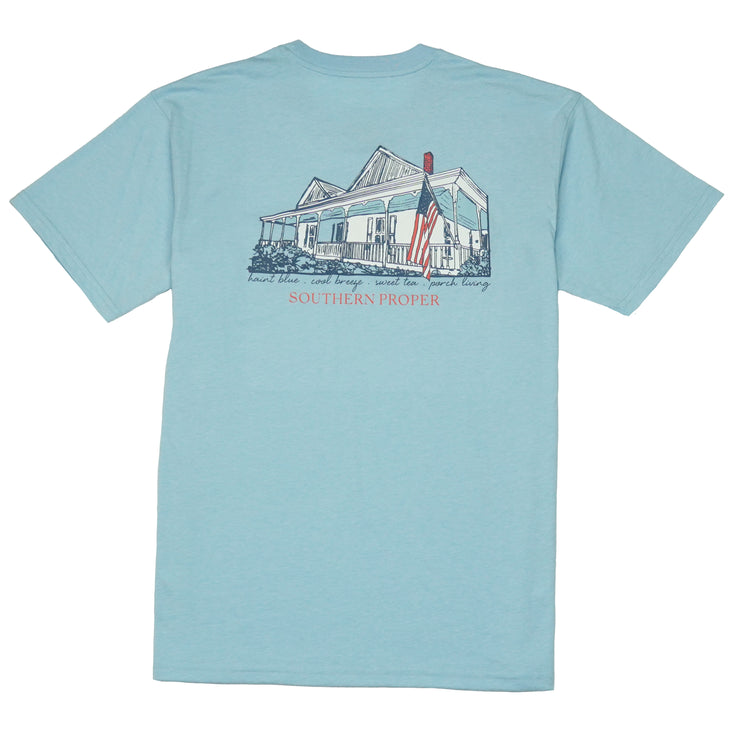 Southern Proper - Porch Living Tee: Heather Porch Blue