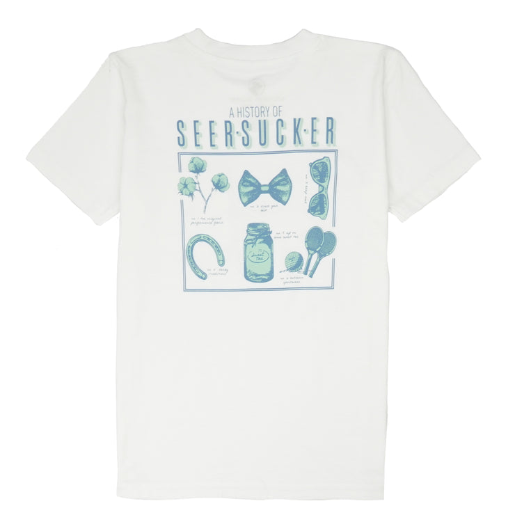 Southern Proper - Boys - History of Seersucker Tee: White