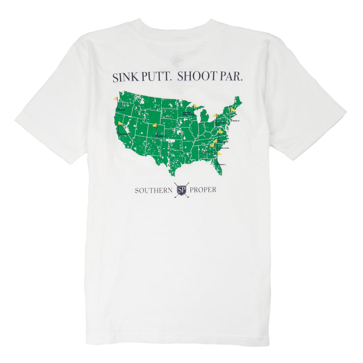 Southern Proper - Boys - Sink Putt. Shoot Par. Tee: White