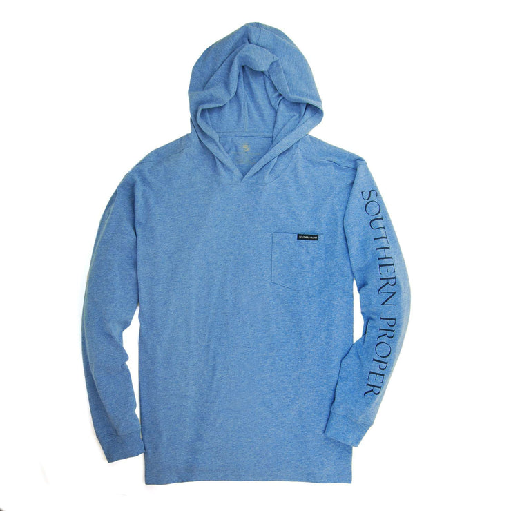 Southern Proper - Hoodie Tee: Heather Paddle Blue