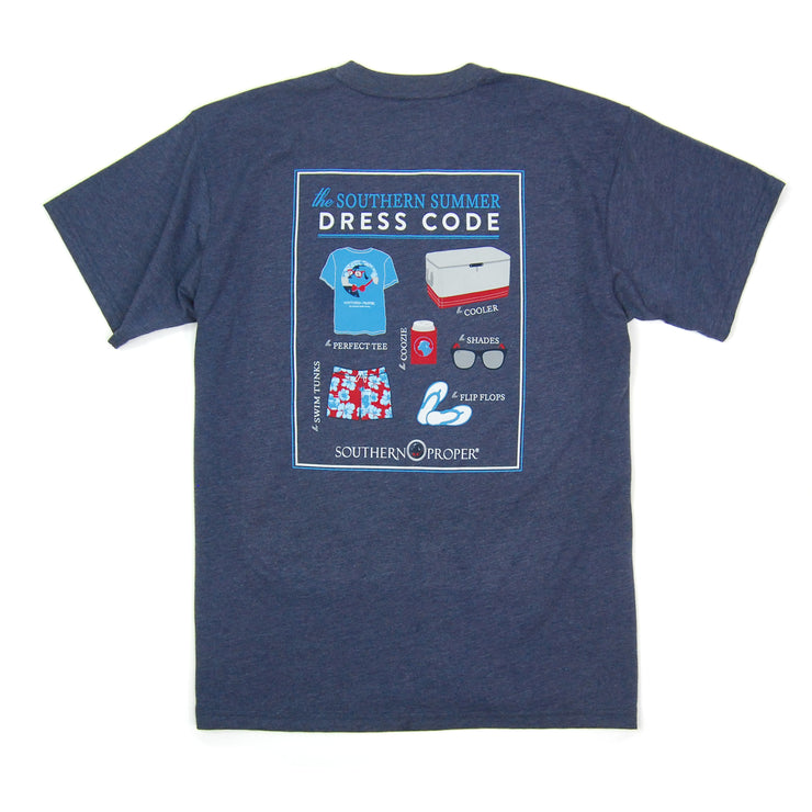 Southern Proper - Summer Dress Code Tee: Heather Proper Navy