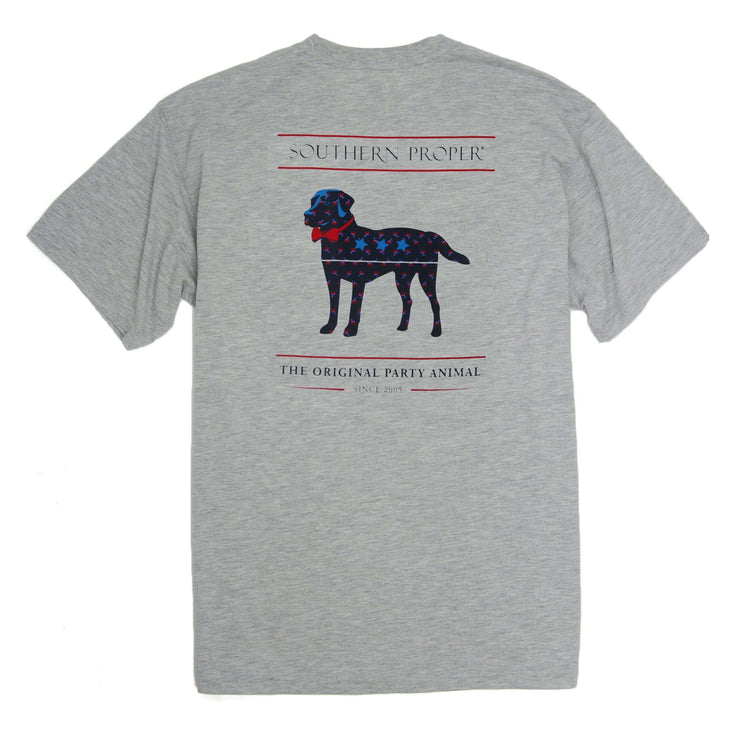 Southern Proper - American Party Animal Tee: Heather Grey