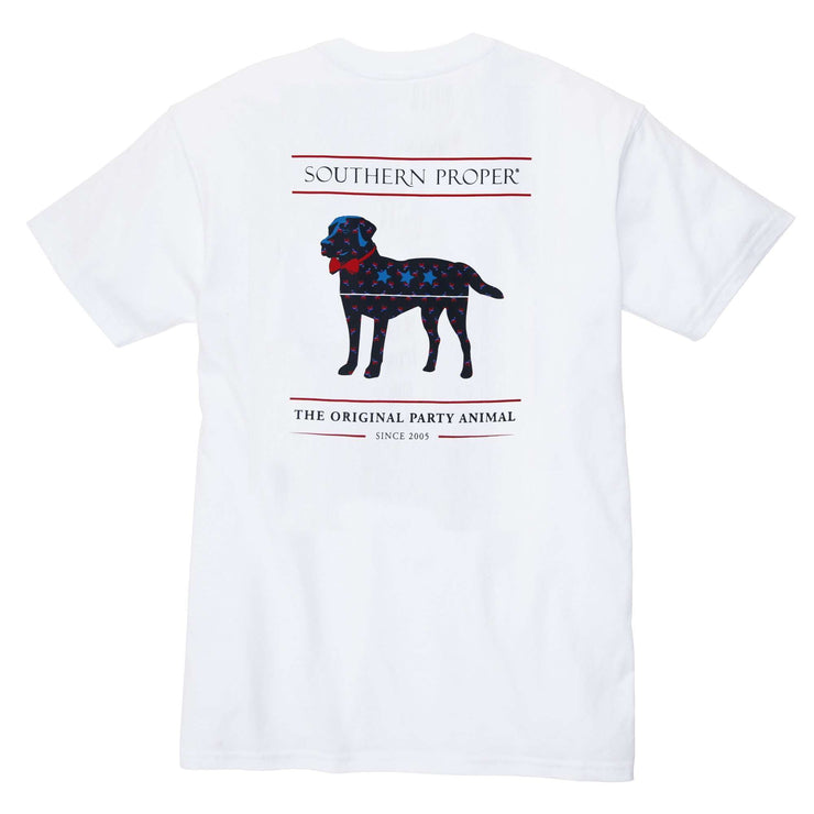 Southern Proper - American Party Animal Tee: White