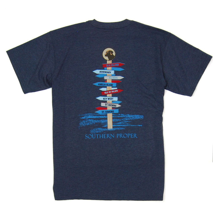 Southern Proper - Beach Signs Tee: Heather Proper Navy