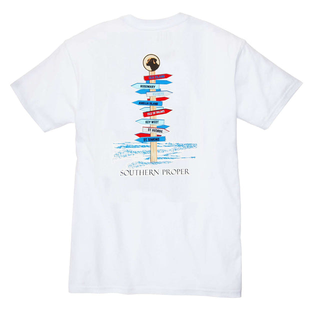 Southern Proper - Beach Signs Tee: White