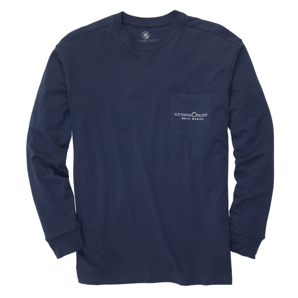 Southern Proper - Beau Basics Tee Long Sleeve: Deep Navy