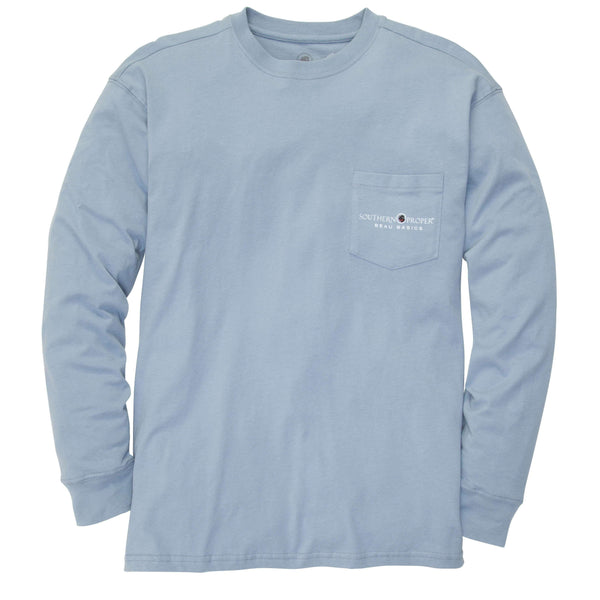 Southern Proper - Beau Basics Tee Long Sleeve: Faded Blue