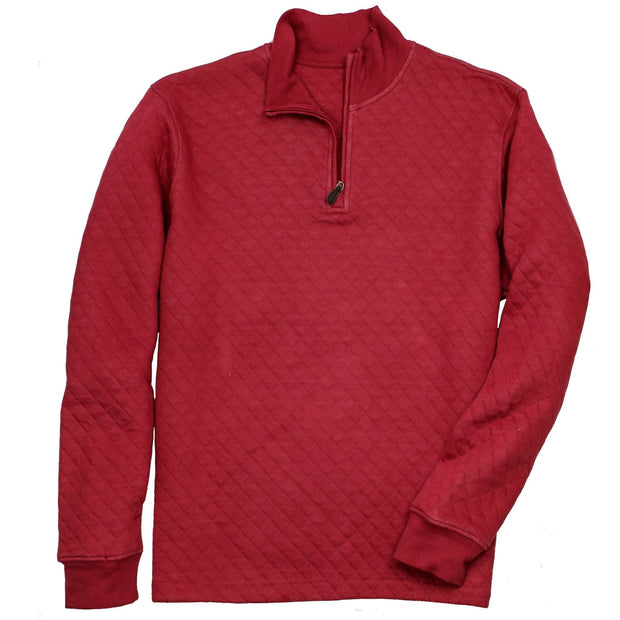 Southern Proper - Beau Quilted Quarterzip: Barn Red