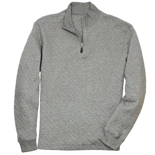 Southern Proper - Beau Quilted Quarterzip: Heather Proper Grey