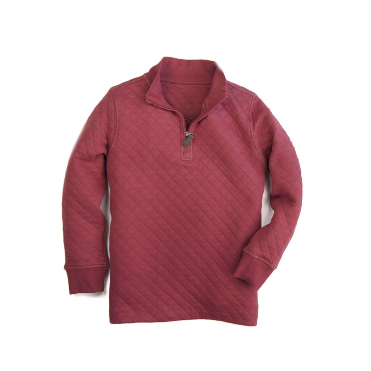 Southern Proper - Boys - Beau Quilted Quarterzip: Barn Red