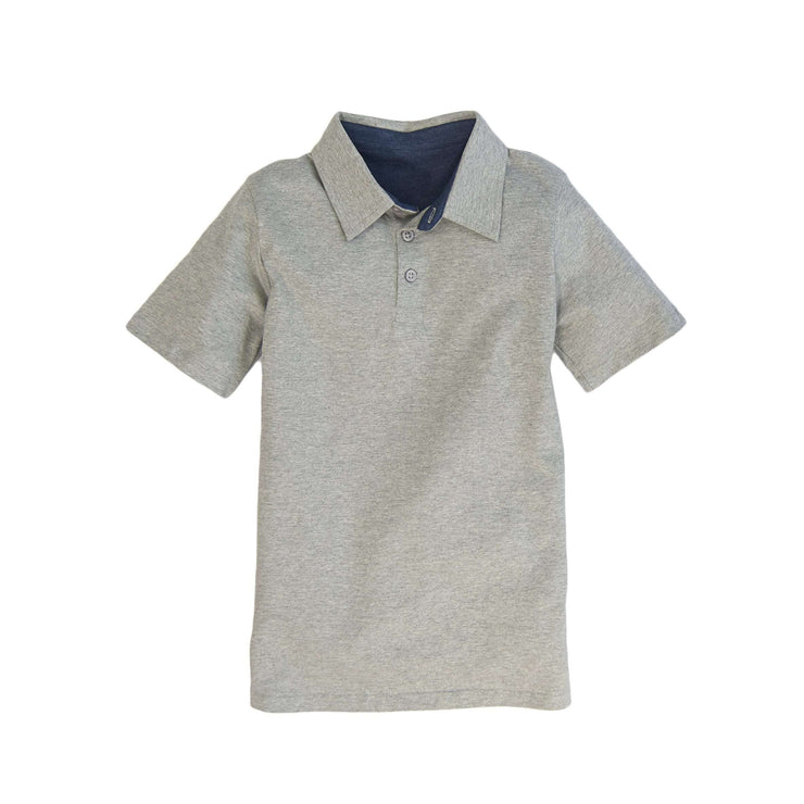 Southern Proper - Boys - Covington Polo: Heather Proper Grey