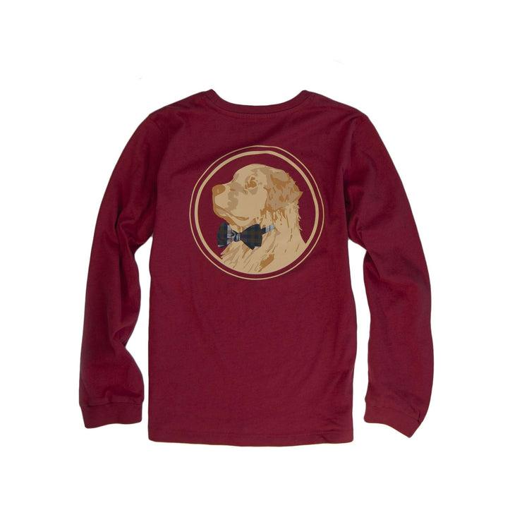Southern Proper - Boys - Golden Logo Long Sleeve Tee: Barn Red