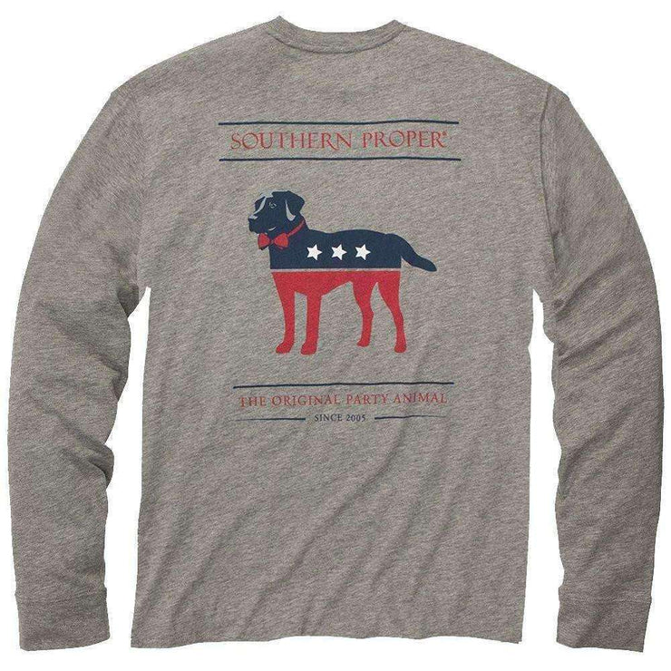 Southern Proper - Boys - Party Animal Long Sleeve Tee: Heather Grey
