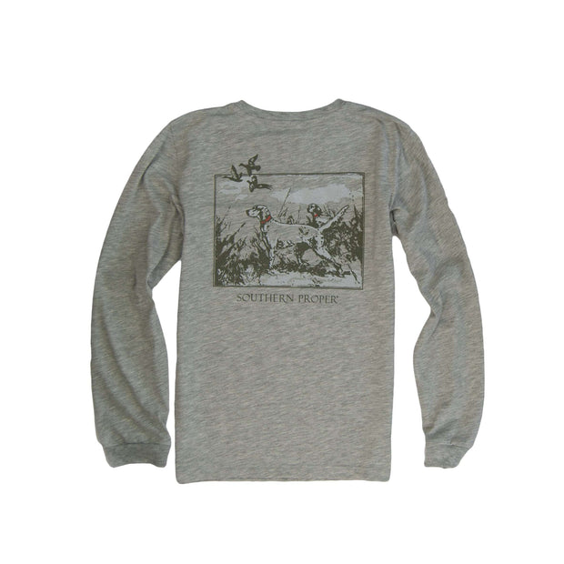 Southern Proper - Boys - Sporting Life Long Sleeve Tee: Heather Grey
