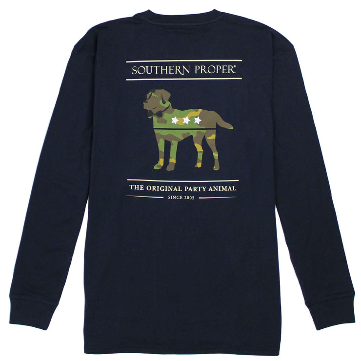 Southern Proper - Camo Party Animal Long Sleeve Tee: Proper Navy