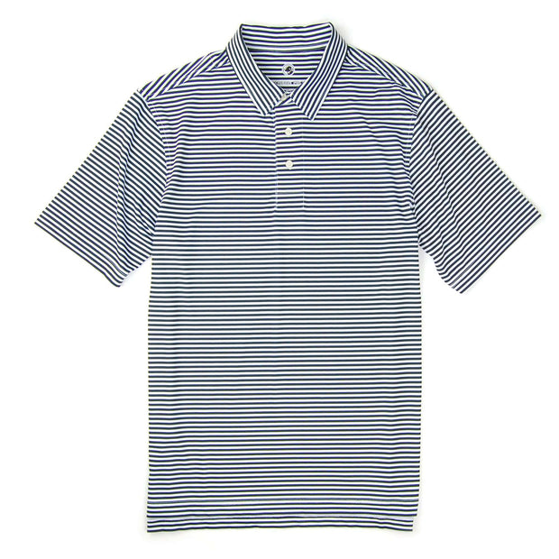 Southern Proper - Classic Performance Polo: Navy and White Stripe