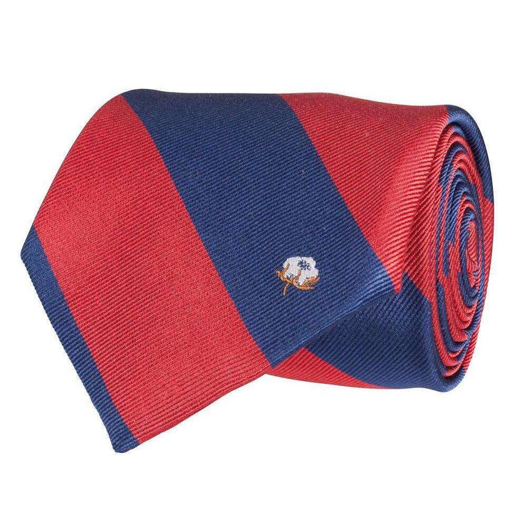 Southern Proper - Cotton Boll Tie: Red & Navy Stripe