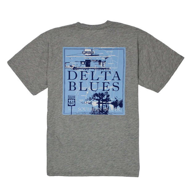 Southern Proper - Delta Blues Tee: Heather Grey