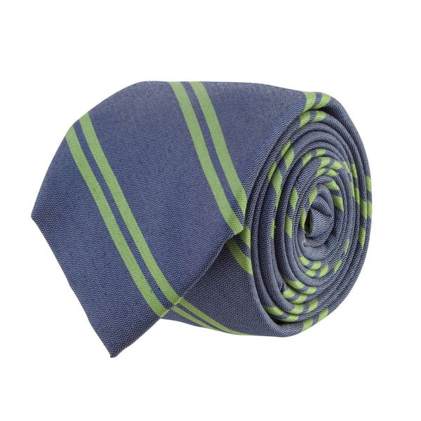 Southern Proper - Double Stripe Bar Tie: Navy and Green