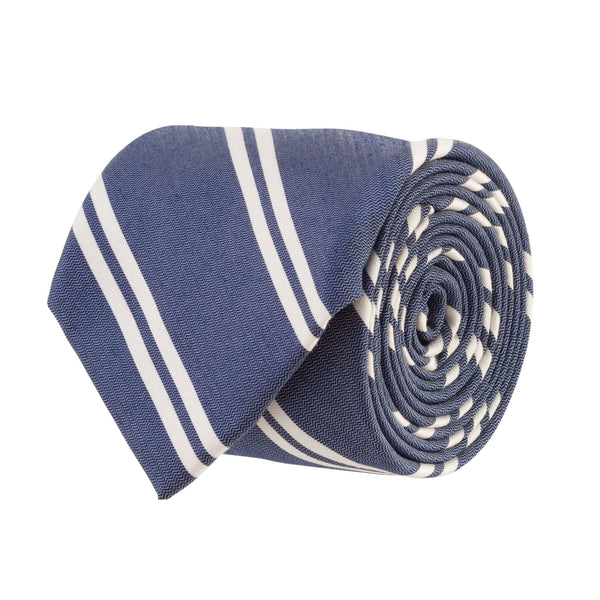 Southern Proper - Double Stripe Bar Tie: Navy and White
