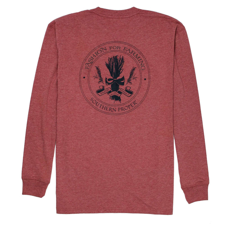 Southern Proper - Fashion For Farming Long Sleeve Tee: Heather Barn Red