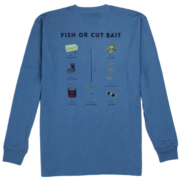 Southern Proper - Fish Or Cut Bait Long Sleeve Tee: Denim