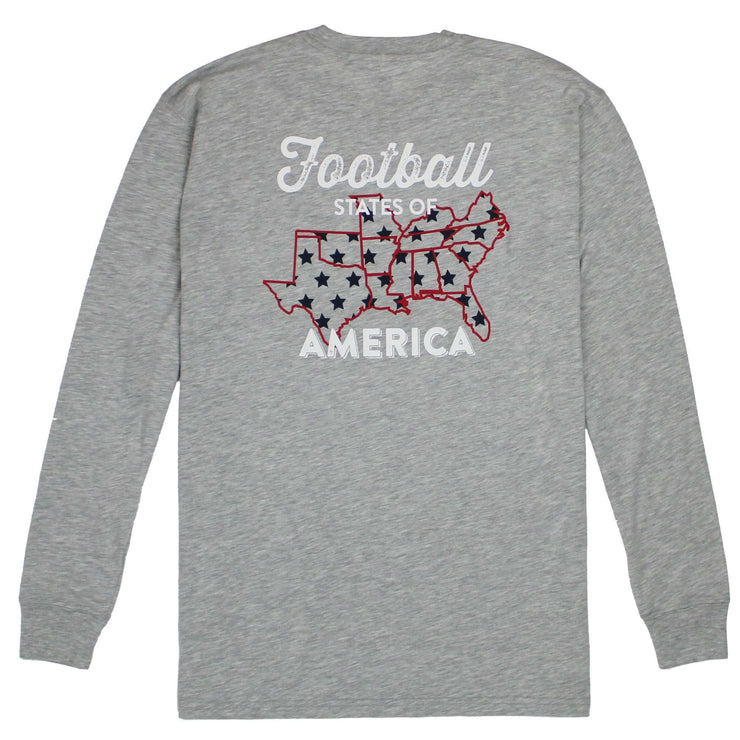 Southern Proper - Football States Long Sleeve Tee: Heather Grey