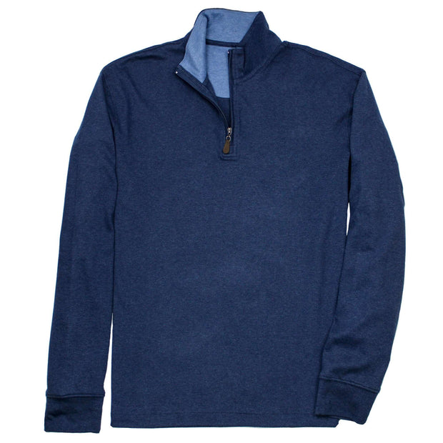 Southern Proper - Gates Quarterzip: Heather Proper Navy