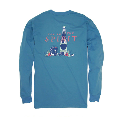 Southern Proper - Get in the Spirit Tee: Blue Stone