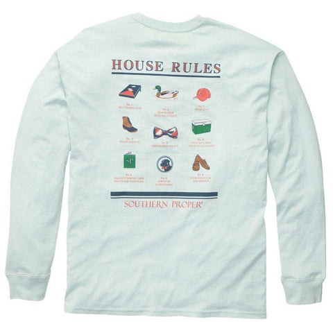 Southern Proper - House Rules Tee - Aqua Long Sleeve