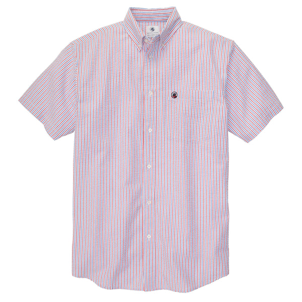 Southern Proper - Social Shirt: Blue Red and White Seersucker