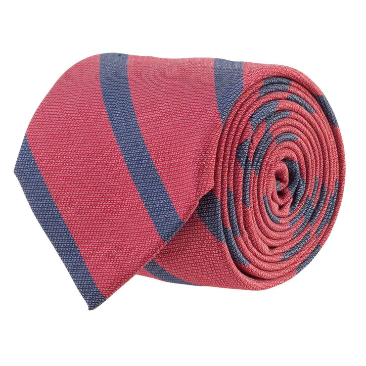 Southern Proper - Single Stripe Bar Tie: Red and Navy