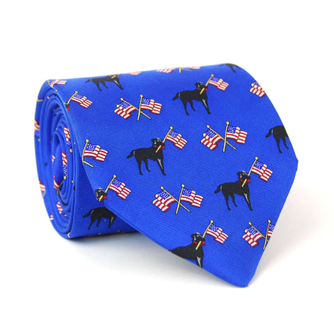 Southern Proper - Labs & Flags Tie: Blue