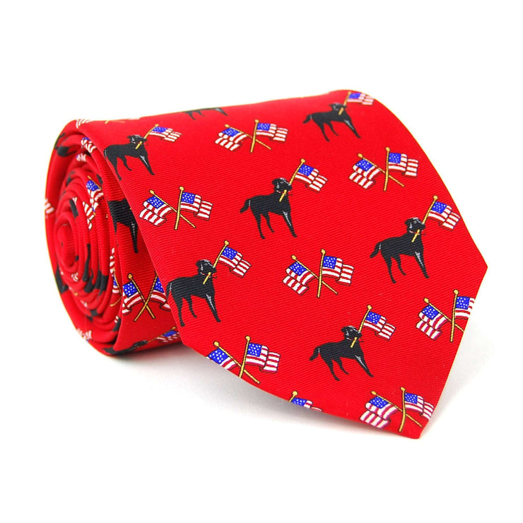 Southern Proper - Labs & Flags Tie: Red