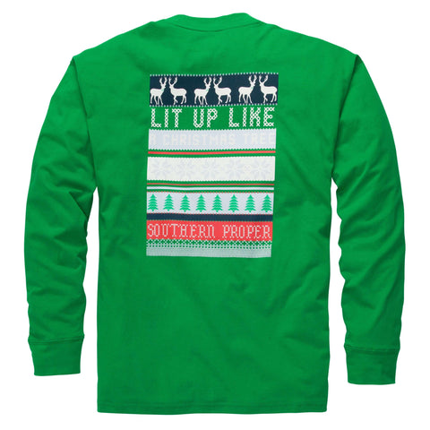 Southern Proper - Lit Up Tee: Green Long Sleeve