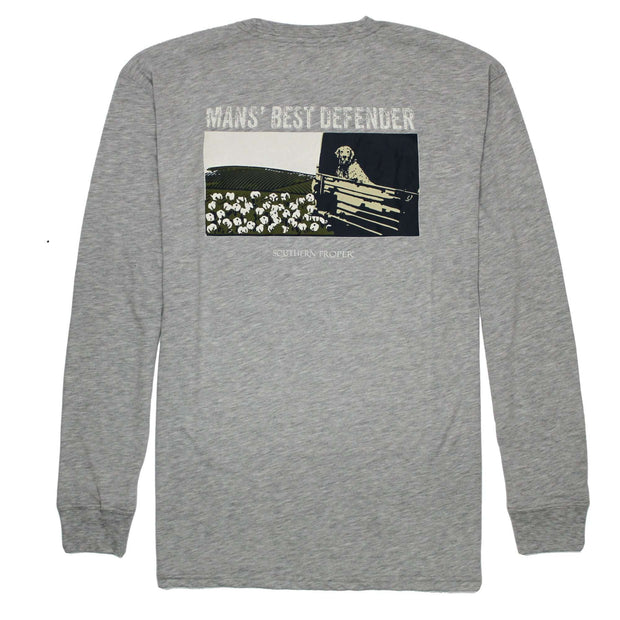 Southern Proper - Man's Best Defender Long Sleeve Tee: Heather Grey