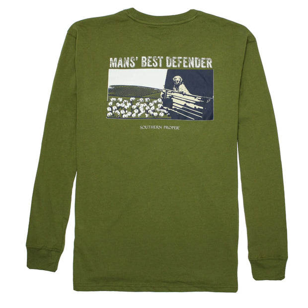 Southern Proper - Man's Best Defender Long Sleeve Tee: Okra