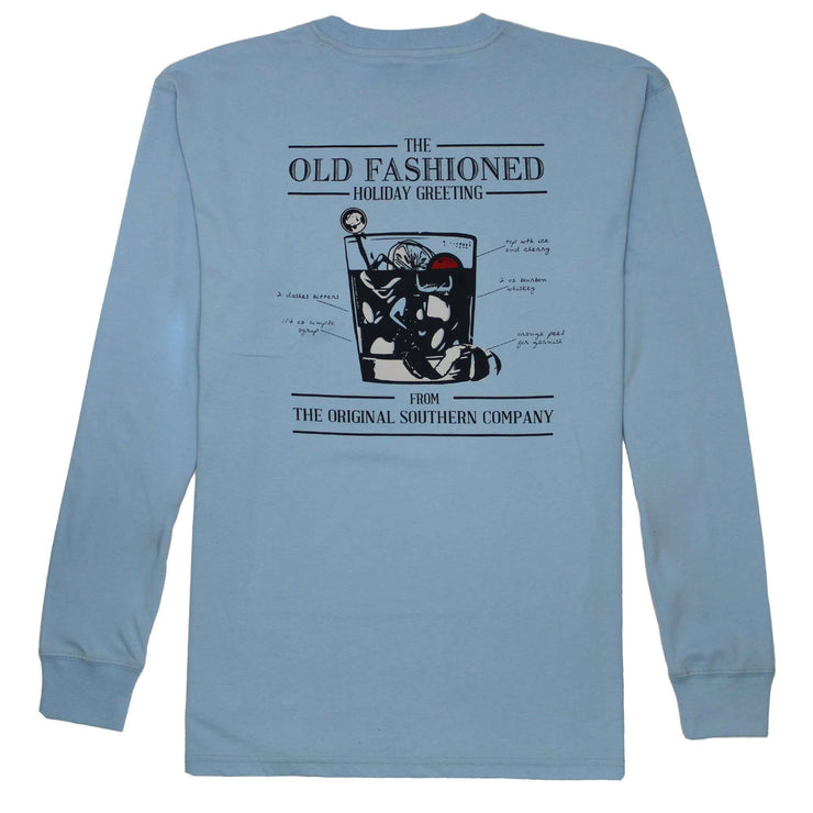 Southern Proper - Old Fashioned Greeting Long Sleeve Tee: Oxford Blue