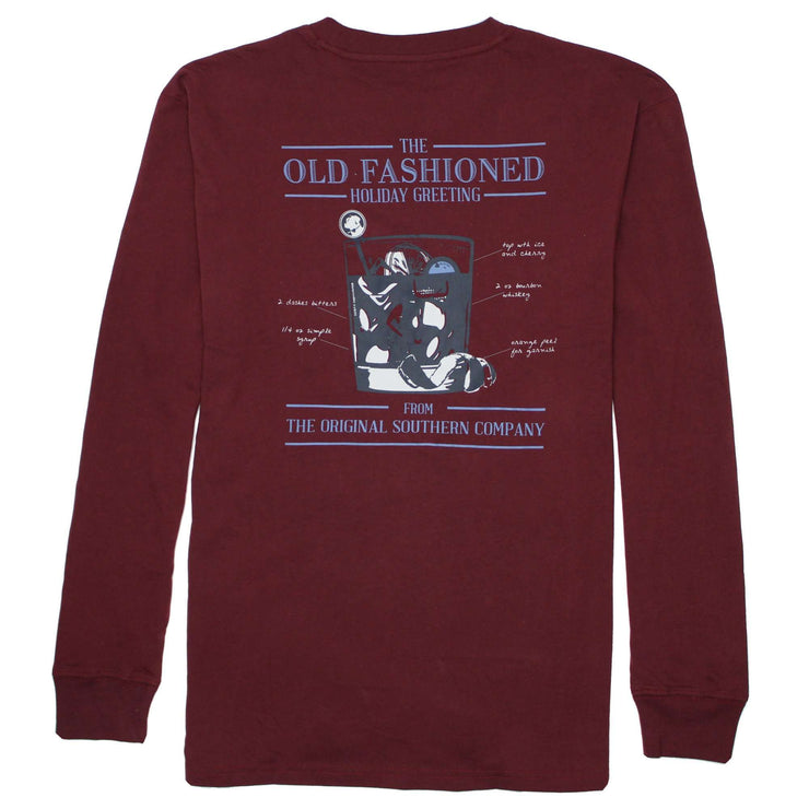 Southern Proper - Old Fashioned Greeting Long Sleeve Tee: Wine