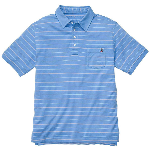 Southern Proper - Pocket Polo: Bocce Blue Stripe
