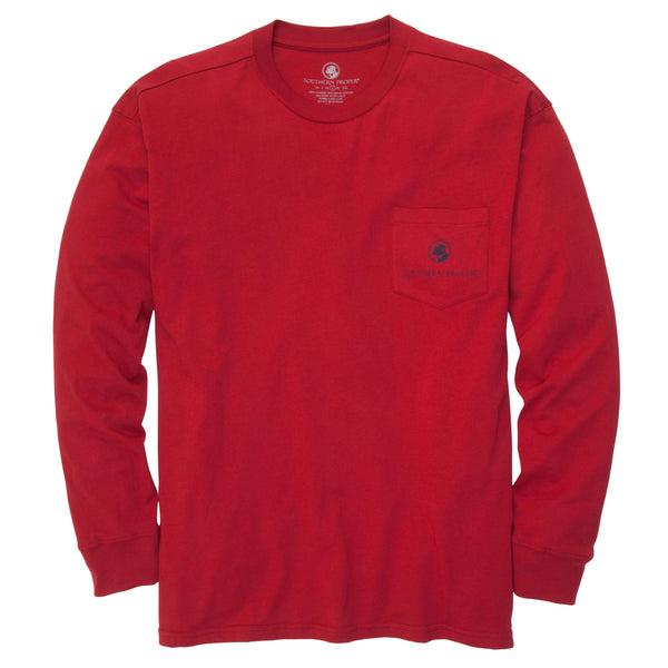 Southern Proper - Go A Little Overboard- Madras Red Long Sleeve