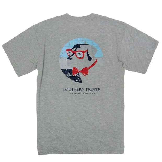 Southern Proper - Retro Shade Dog Tee: Heather Grey