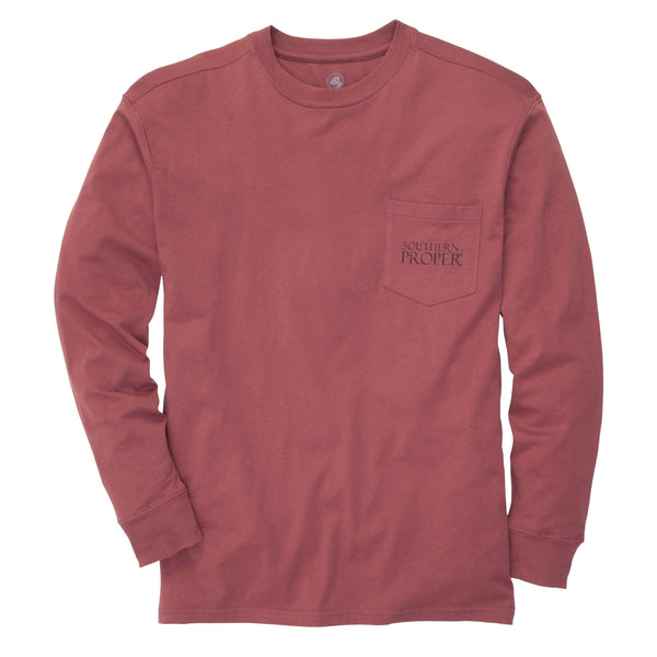 Southern Proper - Original Tee: Rust Red Long Sleeve