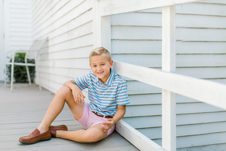 Southern Proper - Boys - Covington Polo: Skyway Stripe