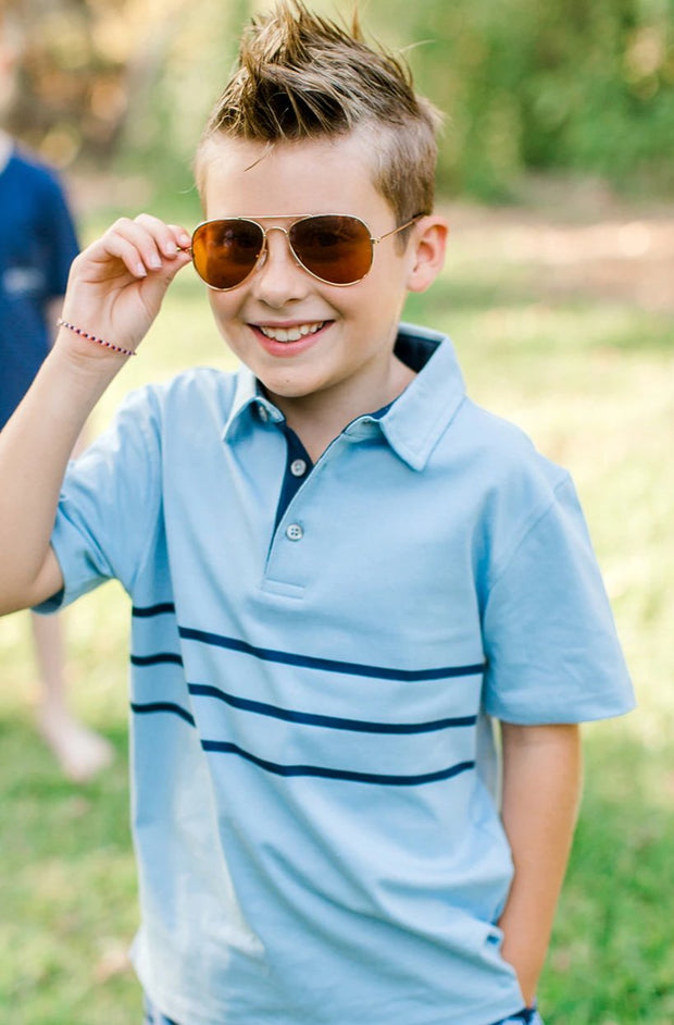 Southern Proper - Boys - Lawn Polo: Porch Blue