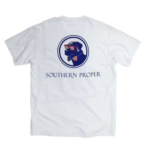 Southern Proper - Old Glory Lab Tee: White